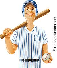 jogador, morcego, bola, basebol