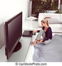 jogador, mulher, dvd, usando