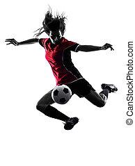 jogador, mulher, futebol, silueta, isolado