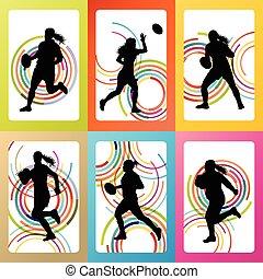 jogador, mulher, silueta, rúgbi