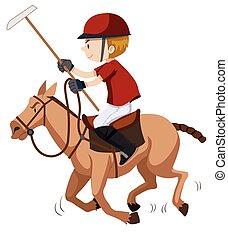 jogador pólo, equitação cavalo