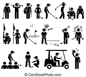 jogador, poses, golfe, ações