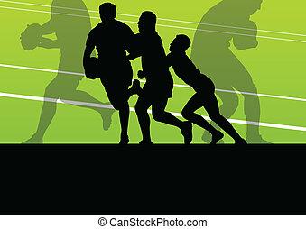 jogador rúgbi, homem, silueta, vetorial, fundo, conceito