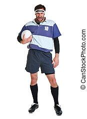 jogador rúgbi, recorte, branco