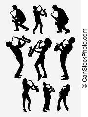 jogador, saxofone, silueta