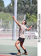 jogador, servindo, tênis