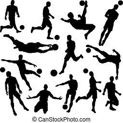jogador, silhuetas, futebol americano futebol