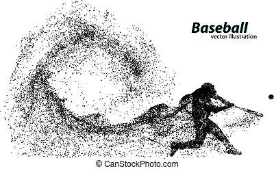 jogador, silueta, basebol, particle.