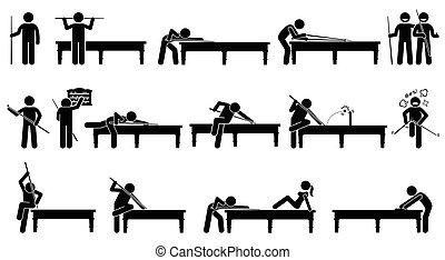 jogador, snooker, tabela., tocando, profissional
