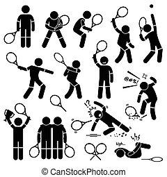 jogador, tênis, ações