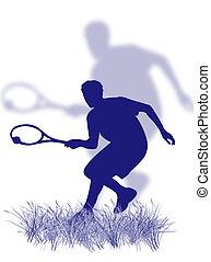 jogador, tênis, capim