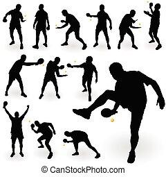 jogador, tênis tabela, silueta, pretas