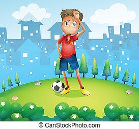 jogador, topo, futebol, colina, cansadas