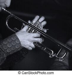 jogador, trompete