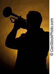 jogador, trompete, silueta, amarela