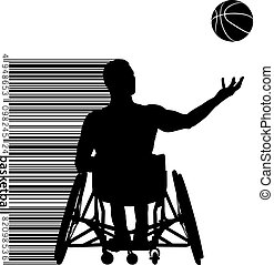 jogador, vetorial, ilustração, basquetebol, disabled.