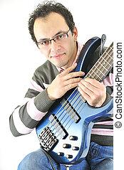 jogador violão, jovem, baixo