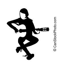 jogador violão, vetorial, ilustração