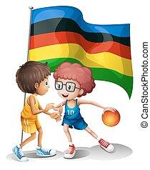 jogadores, bandeira, basquetebol, olympics