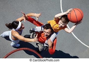 jogadores, basquetebol, família