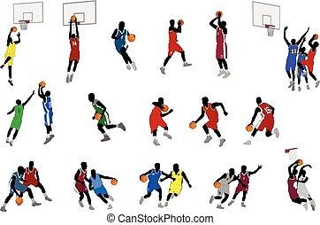 jogadores, basquetebol, ilustração