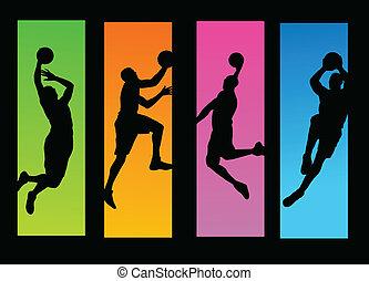jogadores basquetebol, ilustração
