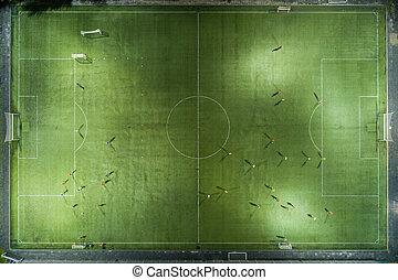 jogadores, executando, futebol, ao redor, campo