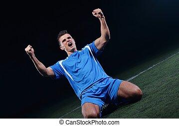jogadores futebol, celebrando, vitória
