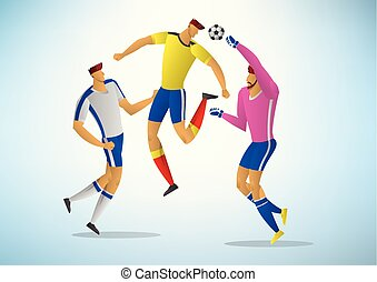 jogadores, futebol, ilustração, 04
