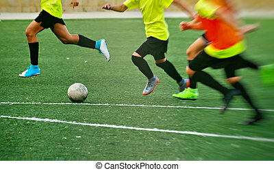 jogadores, futebol, unrecognizable, field., training.
