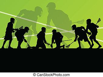 jogadores lacrosse, ativo, esportes, silhuetas, fundo,...