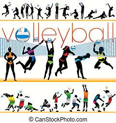 jogadores, silhuetas, 30, voleibol
