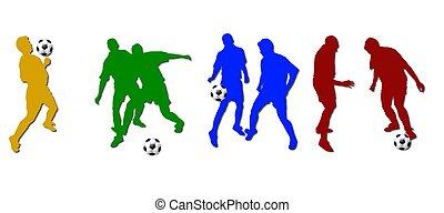 jogadores, silhuetas, futebol, colorido