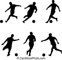 jogadores, silhuetas, futebol, futebol