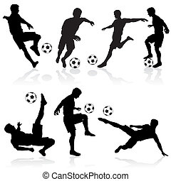 jogadores, silhuetas, futebol
