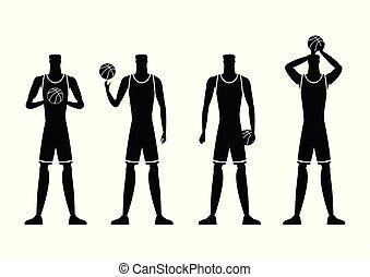 jogadores, silhuetas, vetorial, illustration., basquetebol