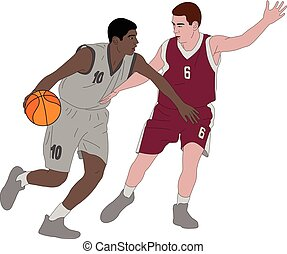jogadores, vetorial, -, ilustração, basquetebol