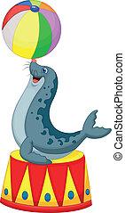 jogando esfera, circo, caricatura, selo