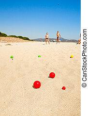 jogar crianças, boules, ligado, um, praia