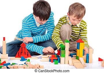 jogar crianças, com, blockschildr