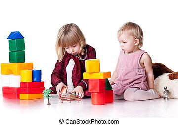 jogar crianças, com, blocos