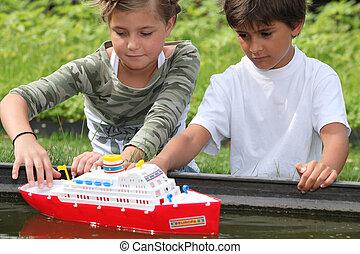 jogar crianças, com, bote