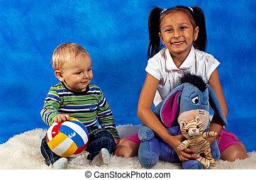 jogar crianças, com, brinquedos