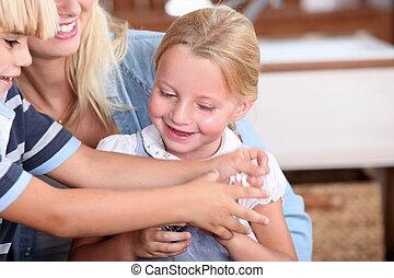 jogar crianças, com, mãe