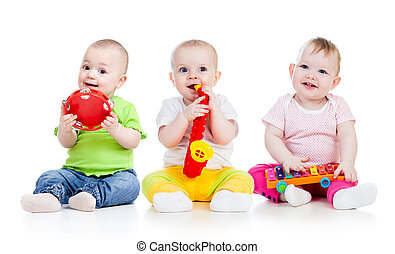 jogar crianças, com, musical, toys., isolado, branco, fundo