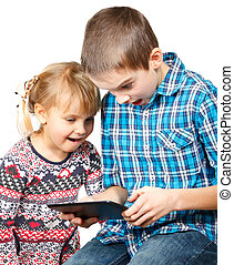 jogar crianças, com, um, tabuleta, computador