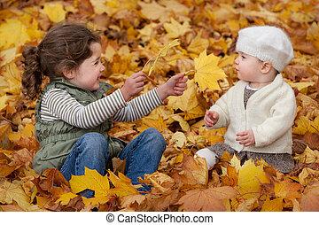 jogar crianças, em, a, folhas