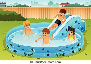 jogar crianças, em, inflável, piscina