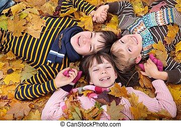 jogar crianças, em, outono
