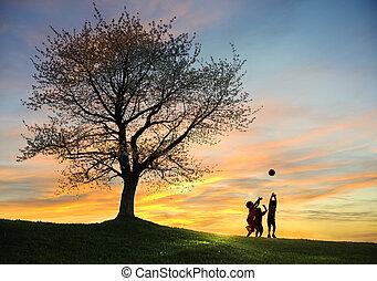jogar crianças, em, pôr do sol, com, bola, silhuetas, liberdade, e, felicidade